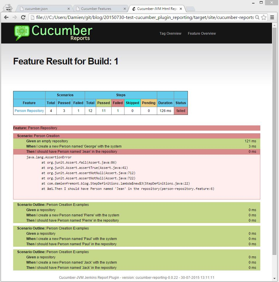 How to Cucumber : Test Reporting Plugin with Maven and Java | Damien