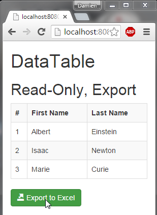 JavaEE AngularJS Bootstrap: DataTable and Excel Export | Damien FREMONT