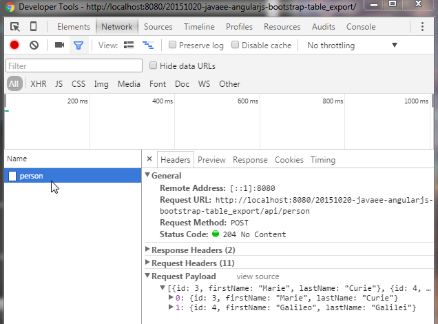 JavaEE AngularJS Bootstrap: DataTable and Excel Export