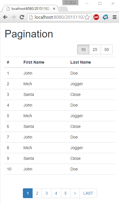JavaEE AngularJS Bootstrap: How to Pagination with Smart